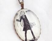 Black Butler/Kuroshitsuji - Grell Sutcliff - Glass Jewelry - Handmade Recycled - Manga / Anime Pendant Necklace