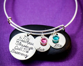 FREE SHIP • Grandma Bracelet • My Greatest Blessings Bangle Bracelet • Silver Bangle for Grandma Grandchildren Name Gift for Mom Jewelry Her