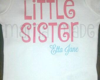 Little Sister Shirt or Bodysuit Hot Pink Little Sister Shirt Sibling Shirt Pregnancy announcement Shirt Little Sis Shirt Little Sister Tee