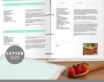 Printable Recipe Binder Set, Editable PDF, Mint Green Chevron, Instant Download