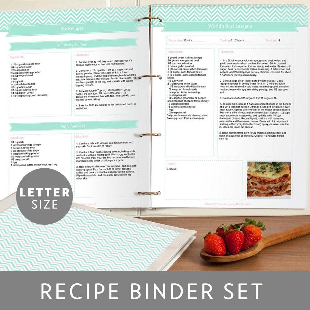 Printable Recipe Binder Set Editable PDF Mint Green Chevron