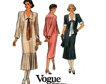 80s Vogue 9158 Drop Waisted Dress Vintage Sewing Pattern Pleated Skirt Trim 20s Flapper Style Size 16  Bust 38 inches
