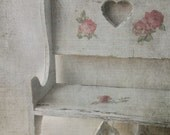 Vintage Wood Doll Bench. Shabby chic Cottage WHite. Decoupage Shabby chic roses. Distressed Rustic Wall Shelf. Nursery Room Cottage Decor