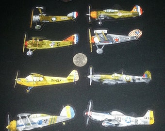 9 Pc Fighter Planes Aircraft Vintage No Sew Iron On Appliques Cotton Patches Retro