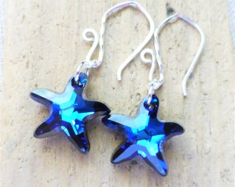 Starfish Earrings, Swarovski Starfish Earrings, Bermuda Blue, Crystal Starfish, Sterling Silver Earrings,  Beach Wedding, Bridesmaid Gifts