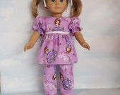 18 inch doll clothes -  Purple Princess Pajamas handmade to fit the American Girl Doll - FREE SHIPPING