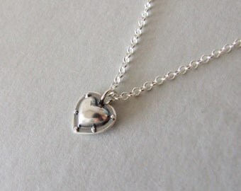 Industrial Heart Necklace - alternative heart necklace , riveted heart , steampunk necklace , silver necklace , heart pendant , industrial