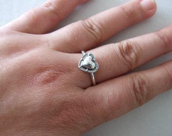 Silver Heart Ring - alternative heart ring , riveted heart , steampunk ring , silver ring , heart ring , industrial ring , women's ring