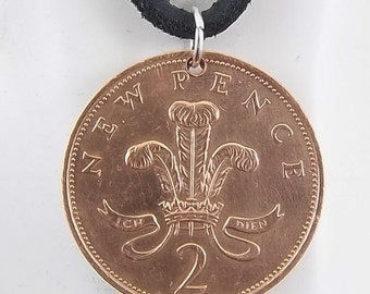 1978 England Coin Necklace, 2 Pence, Coin Pendant, Mens Necklace, Womens Necklace, Leather Cord, Vintage