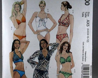 McCall's 5400, Misses' Two-Piece Bathing Suit and Cover-up Sewing Pattern, Bikini Sewing Pattern, Sizes 4 to 12, Uncut