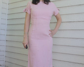 Pink Wiggle Dress 50s 60s Vintage XS 1950s 1960s Hourglass Curvy
