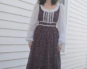 Red Floral Prairie Gunne Sax Dress 1970s Vintage 70s Full Corset XS 7