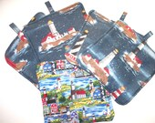 Lighthouse Hot Pads,Seaside Town Lighthouses Heavy Duty,Thick Pot Holders,Kitchen Hot Pads,Trivets,Portland Head,Fire Island,Point Wilson