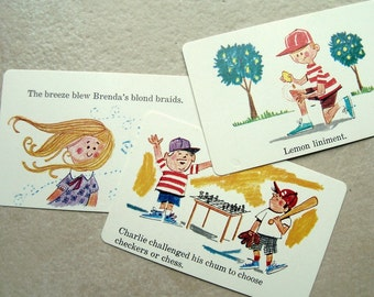 Tongue Twisters Cards 3 1970 Children Highlights Illustration Kids