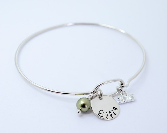 Class of 2016 Dainty Bangle - High School College School Color Birthstone - Personalized Sterling Silver Graduation Charm Bracelet