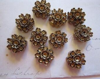 10 vintage resin cabochons - gold tone resin floral findings - vintage Japan supply - 5/8 inch