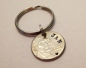 5th Anniversary Gift for Him Her Men, Stamped NICKEL Keychain; Personalized 5 Year Anniversary 2018, 2013 Wedding, Five Fifth, UNCIRCULATED