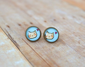 M E O W - Blue and White Blushing Kitty Cat with Heart Photo, Glass Cab, Antique Bronze Stud Earrings, 12mm
