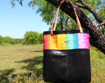 Made to Order Alison Glass Sun Prints Patchwork Rainbow Tote with Vinyl or Fabric body and genuine leather straps