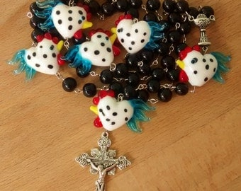 Lampwork Rooster Chicken Rosary -Oversized-