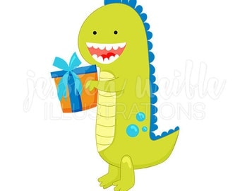 Birthday Dinosaur Cute Digital Clipart, Dinosaur Clip art, Dinosaur Graphics, Dinosaur with Gift Illustration, #671