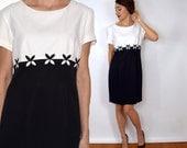 90s Black White Mini Dress | Floral Color Block Dress, Medium