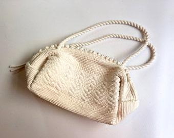 60s Woven Purse | White Crochet Handbag Bag Clutch