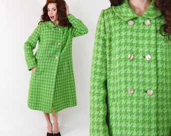 60s Lime Wool Coat | Green Houndstooth Winter Coat | Large
