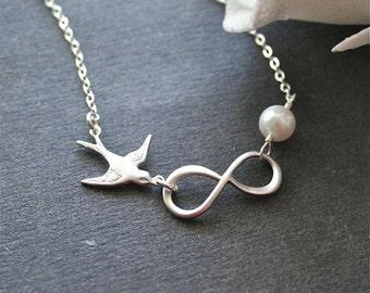 Silver Infinity Necklace, Bird Necklace, Sterling Silver, Pearl Necklace, Everyday Necklace, Great Gift
