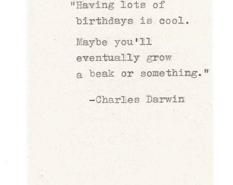 Charles Darwin Misquote Birthday Card | Evolution Humor Funny Natural History Science Joke Hand Typed Nerdy Vintage Old Weird Men Women