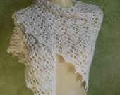 Snow White Crocheted Lace Shawl Shoulder Wrap Handmade by Lynne Bridal Shawl