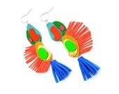 Blue Tassel Earrings, Rainbow Earrings, Orange Fringe Earrings, Colorful Leather Earrings, Geometric Earrings, Abstract Statement Earrings