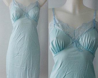 Vintage Blue Full Slip, 1960s Full Slip, Gaymode, Penny's Blue Full Slip, 1960s Slip, Vintage Slip