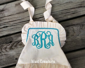 Monogram baby bathing suit, Girls One piece ruffle monogram swimsuit Boutique handmade