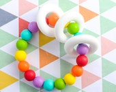 Rainbow Silicone Teether - Silicone Teething Toy- Baby Teether- New Baby Gift- Chew Beads- Baby Chew Toy- Silicone Beads - Teething Necklace