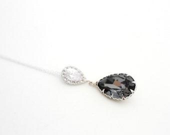 Old Hollywood Wedding Necklace, Gray Necklace, Grey Bridesmaid Necklace, Charcoal Swarovski Necklace Black Diamond Necklace Pendant Necklace