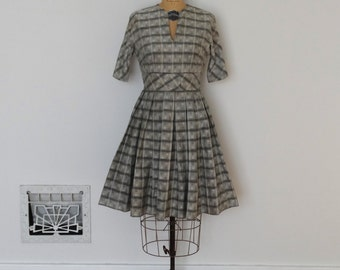 Vintage 50s Dress - 1950s Gray Dress - The Magdalene