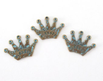 I am Blessed Crown Charm - Blue Bronze Patina Crown - Verdigris Crown Pendant - Word Charms - Religious Christian - Jewelry Findings  4 PCS