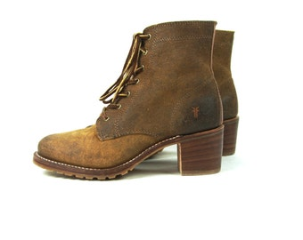 Women's FRYE Ankle Boots with Chunky Heel and Vibram Soles, Size 9 M, Made in the USA