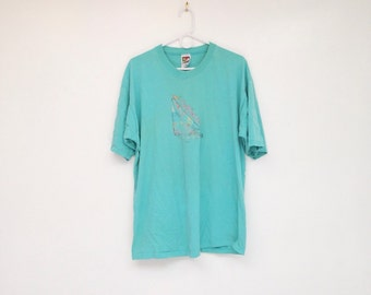 Vintage 1980s Teal Worn In Super Soft California Sailboat Tee