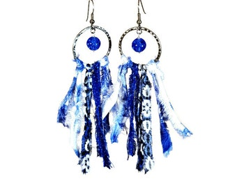 Cobalt Blue Earrings, Statement Earrings, Fringe, Fabric Jewelry, Fabric Earrings, Upcycled, Boho Jewelry