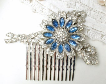 OOAK 1920 Antique Sapphire Blue Bridal Hair Comb Navy Art Deco Pave Rhinestone Vintage Headpiece Gatsby Wedding Hairpiece Something Blue Old