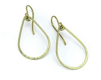 Niobium Earrings Gold Teardrop, Yellow Gold Colored Niobium Hoop Earrings, Nickel Free Earrings, Hypoallergenic Niobium Jewellery