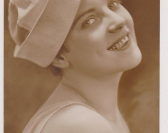CUTE SMILING FLAPPER Style 1920s Young Lady in Sailors Marine Beret Rare Real Photo Vintage Collectible Postcard