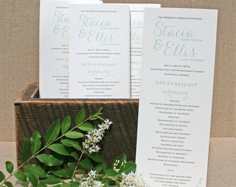 Wedding Program with Rustic Laurel Design - Rustic Wedding Programs - Mint Ceremony Programs