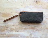 Reserved for Kristen-Waxed Canvas Wristlet/ Pouch/ Detachable Leather Strap
