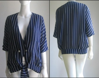 70s 80s vintage striped blouse