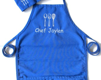 Childs Personalized Baking Apron AND HAT - Personalized Kids Apron and Hat