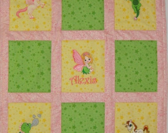Custom Embroidered Mythical Baby Quilt - Choose the fabrics & images - Crib Bedding available - Payment Plan available
