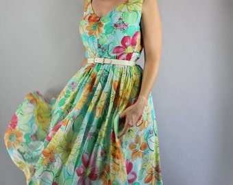Vintage 90s does 50s Women's Aqua Blue Green Floral Print Chiffon Full Skirt Midi Wedding Guest Party Dress